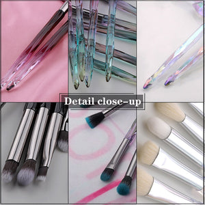 FLD 10Pcs Eye Brush Mini Diamond Makeup Brush Set Eye Shadow Lip Eyebrow Brushes High Quality Professional Lip Eyeliner Tools