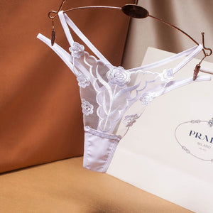 Lace Transparent Embroidered Panties Sexy Lingerie Sex Thongs Women Hot Erotic Underwear Perspective Panties G string