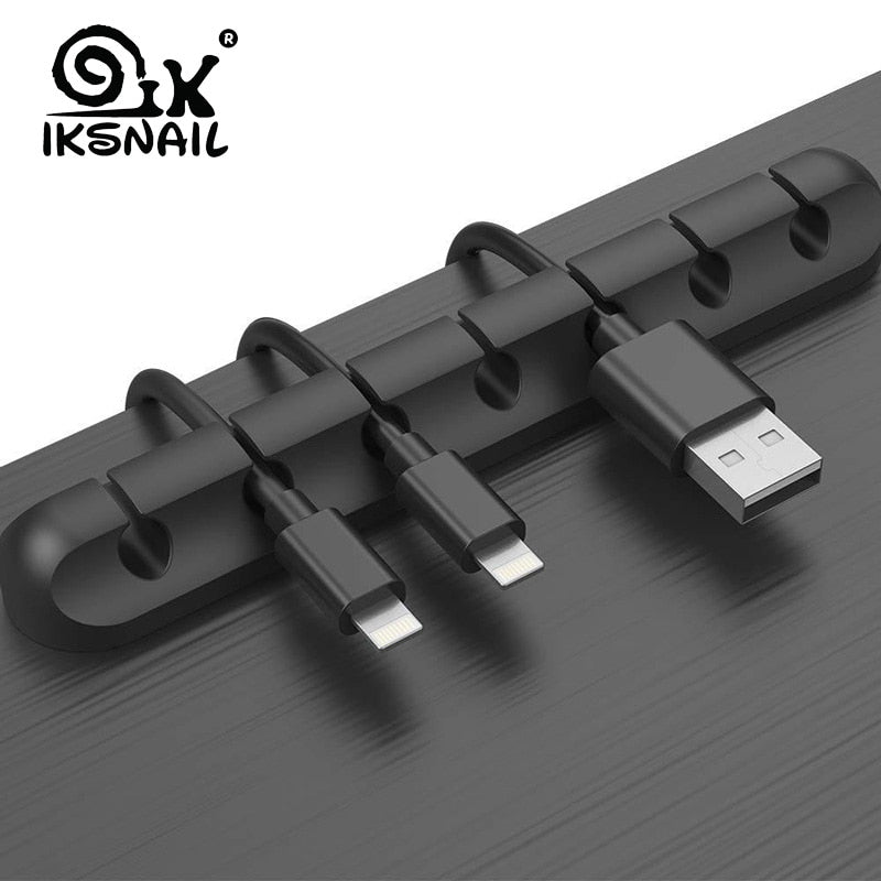 IKSNAIL Cable Holder Silicone Cable Organizer Flexible USB Winder Management Clips Holder For Mouse Keyboard Earphone Headset