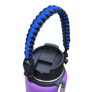 Paracord Handle Strap Cord with Safety Ring and Carabiner for Hydro Flask Wide Mouth Water Bottle for Hiking Camping Walking