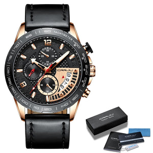CRRJU Mens Watches Top Luxury Brand Business Wrist Watch men Chronograph Sport Military Date Leather Quartz Relogio Masculino