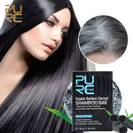 Load image into Gallery viewer, Gray White Hair Color Dye Treatment Bamboo Charcoal Clean Detox Soap Bar Black Hair Shampoo Shiny Hair & Scalp Treatment