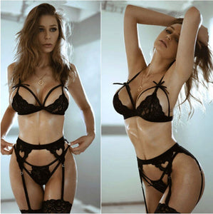 sexy lace bra and panty set women garters push up lingerie bralette thong panties G-string underwear wire free Bra & Brief Sets