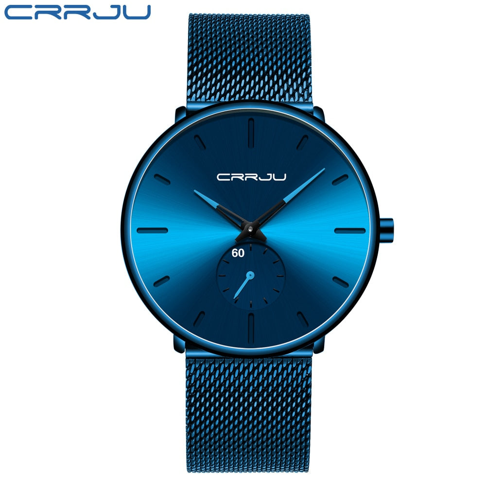 Men Watch CRRJU Watch Women and Top Brand Luxury Famous Dress Watches Fashion Unisex Ultra Thin Wristwatch Relojes Para Hombre