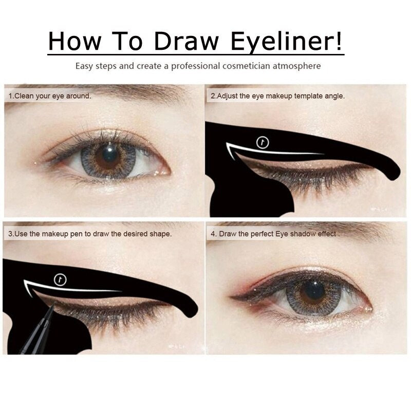 Hot DIY 2 PCS/Set Women Eyeliner Template Pro Eye Makeup Tool Eye Template Shaper Model Easy to make up set Tools