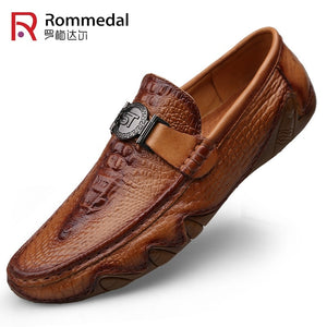 Rommedal crocodile skin loafer shoes men genuine leather slip-on moccasins handmade man casual shoes drive walk luxury leisure