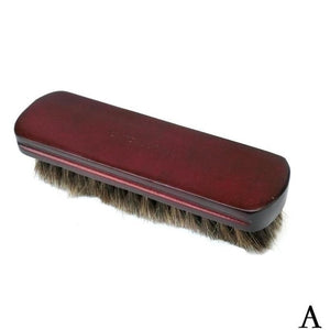 Wooden Shoes Brush Handle Natural Bristle Horse Hair Shoe Shine Buffing Cleaning Brush Polishing Tool Cleaning Gadget