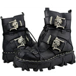 Load image into Gallery viewer, Men's Cowhide Genuine Leather Motorcycle Boots Military Combat Boots Gothic Skull Punk Boots