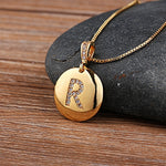 Load image into Gallery viewer, Top Quality Women Girls Initial Letter Necklace Gold 26 Letters Charm Necklaces Pendants Copper CZ Jewelry Personal Necklace