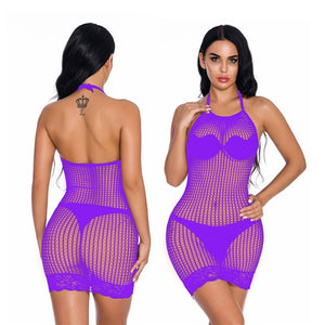 Fishnet Erotic Dress Plus Size Women Perspective Lingerie Sexy Hot Erotic Underwear Female Sexy Lingerie Babydoll Costumes