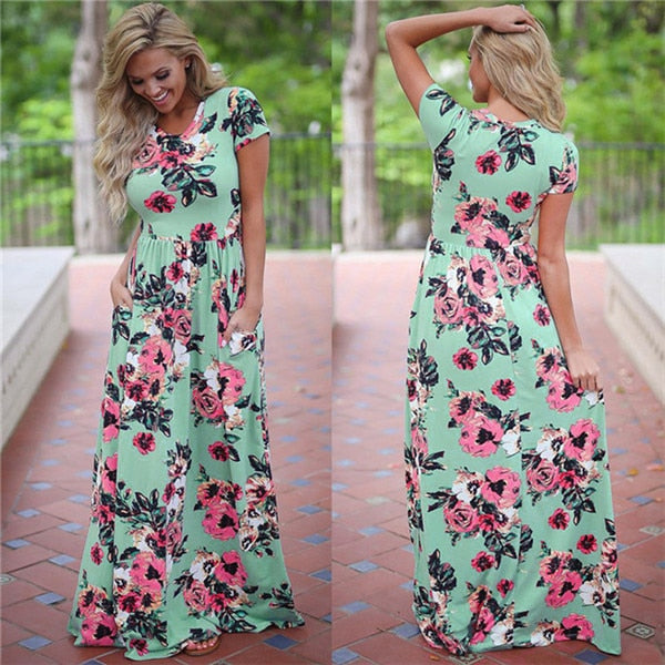 Women Long Maxi Dress 2020 Summer Floral Print Boho Beach Dress Short Sleeve Evening Party Dress Tunic Vestidos Plus Size XXXL