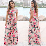 Load image into Gallery viewer, Women Long Maxi Dress 2020 Summer Floral Print Boho Beach Dress Short Sleeve Evening Party Dress Tunic Vestidos Plus Size XXXL