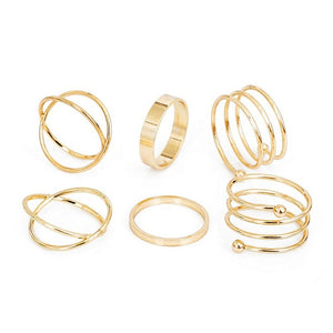 KISSWIFE 8 Pcs/Set Simple Design Round Gold Color Rings Set For Women Handmade Geometry Finger Ring Set Female Jewelry Gifts