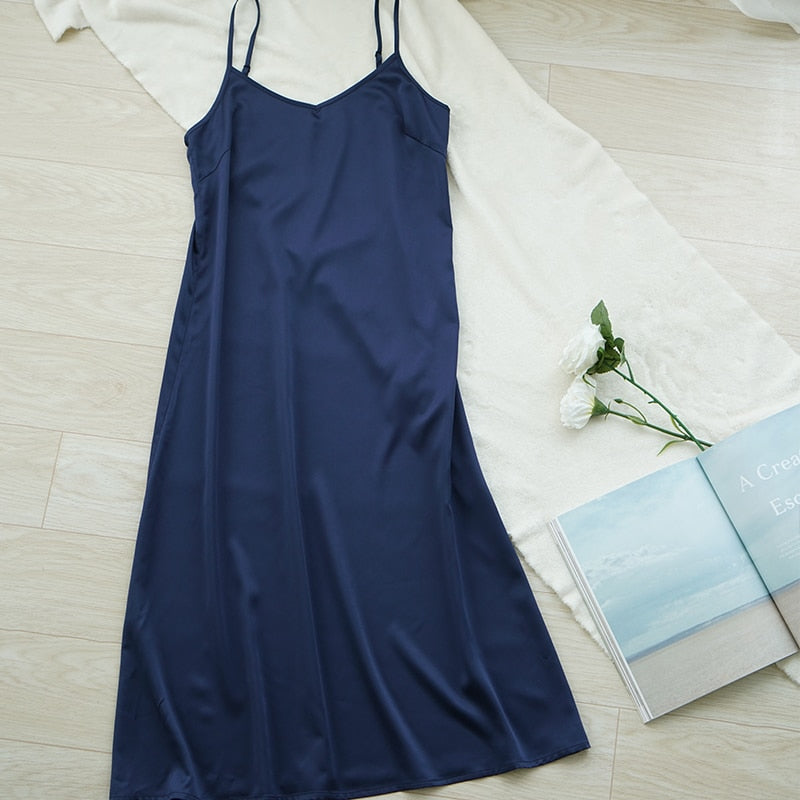 High quality women dress Summer spaghetti satin long dress very soft smooth M30262