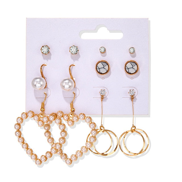Women's Earrings Set Tassel Pearl Earrings For Women Bohemian Fashion Jewelry 2020 Geometric kolczyki Hoop Earings