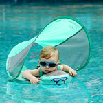 Load image into Gallery viewer, Baby Infant Solid Non-inflatable Lying Swimming Ring Waist Float  Pool Toys Swim Trainer Sunshade Swim Ring with Sun Canopy