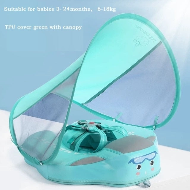 Baby Infant Solid Non-inflatable Lying Swimming Ring Waist Float  Pool Toys Swim Trainer Sunshade Swim Ring with Sun Canopy