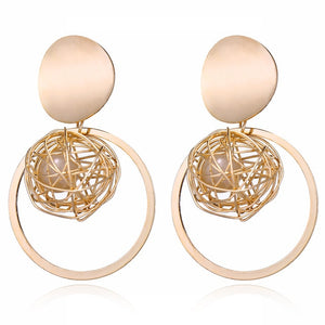 Fashion Statement Earrings 2019 Big Geometric Round Earrings For Women Hanging Dangle Earrings Drop Earing Modern Female Jewelry