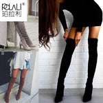 Load image into Gallery viewer, POLALI 2020 New Flock Leather Women Over The Knee Boots Lace Up Sexy High Heels Autumn Woman Shoes Winter Women Boots Size 34-43