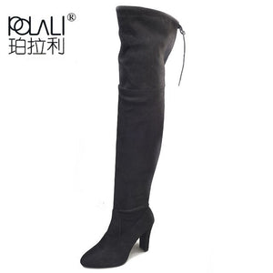 POLALI 2020 New Flock Leather Women Over The Knee Boots Lace Up Sexy High Heels Autumn Woman Shoes Winter Women Boots Size 34-43