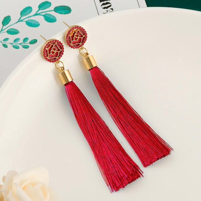 New Fashion Bohemian Tassel Earrings for Women Cotton Silk Fabric Long Fringe Drop Dangle Earrings 2019 Party Female Jewelry
