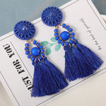 Load image into Gallery viewer, New Fashion Bohemian Tassel Earrings for Women Cotton Silk Fabric Long Fringe Drop Dangle Earrings 2019 Party Female Jewelry