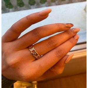 Chic Gold Color Plating Chain Shape RING 7mm Wide For Unisex Vintage Gothic Chunky Midi Ring Antique Jewelry Accessory
