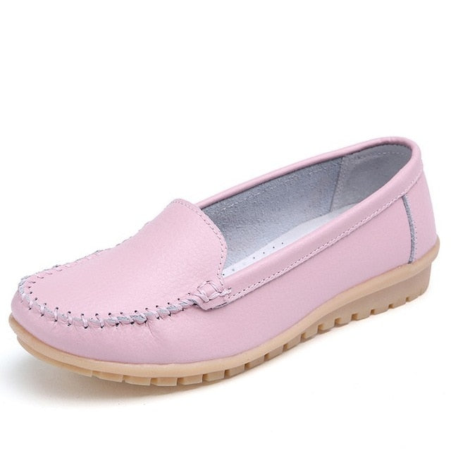 STQ 2020 Spring Women Flats Shoes Women Genuine Leather Shoes Woman Cutout Loafers Slip On Ballet Flats Ballerines Flats 169
