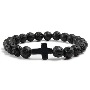 Charm Natural Stone Bracelet Cross Black Lava Matte Beaded Bracelets Handmade Men Women Prayer Fitness Chain Couple Jewelry Gift