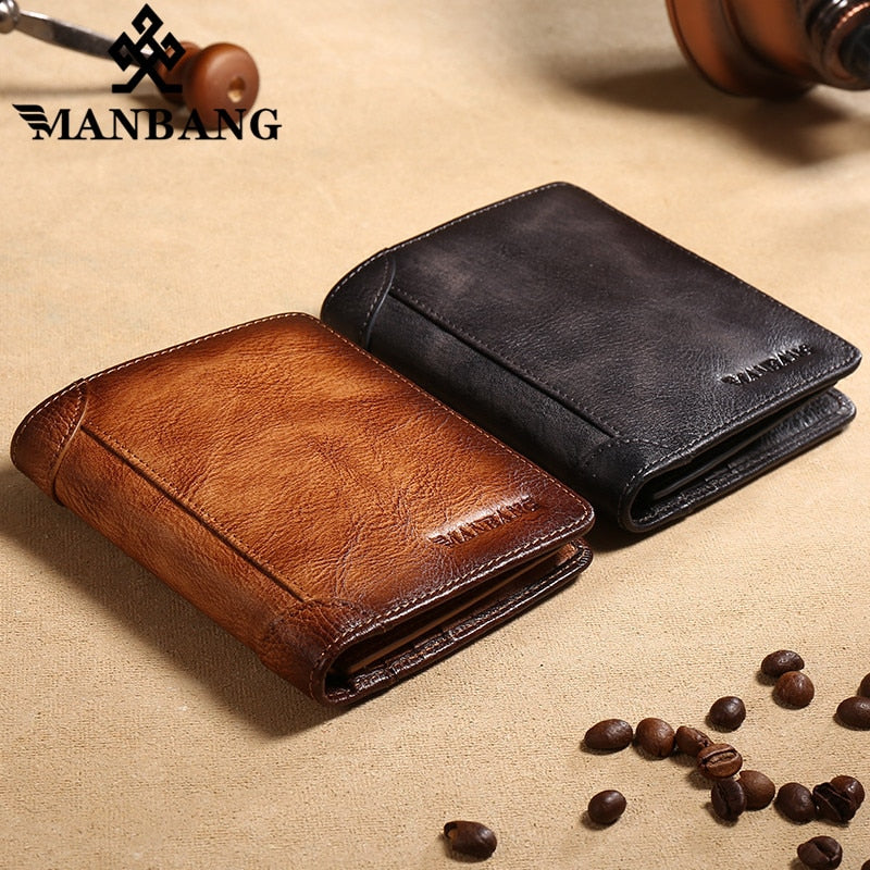 ManBang 2020 New 100% Genuine Leather Men Wallet Small Mini Card Holder Male Walet Pocket Retro purse High quatily
