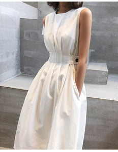 2020 Summer Women Solid White Black Fashion Elegant Casual Party Dress O Neck Sleeveless Pockets Tank Sundress Female Vestidos