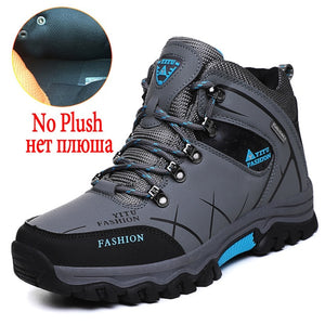 Brand Men's Winter Boots Warm Men's Snow Boots High Quality Leather Waterproof Men Sneakers Outdoor Men Hiking Boots Work Shoes