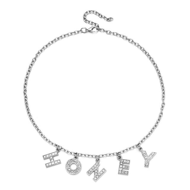 Harajuku Letter Crystal Angel Necklace Women Jewelry Couple Gift Necklace BABY HONEY Choker Femme Punk Collier Drop Ship