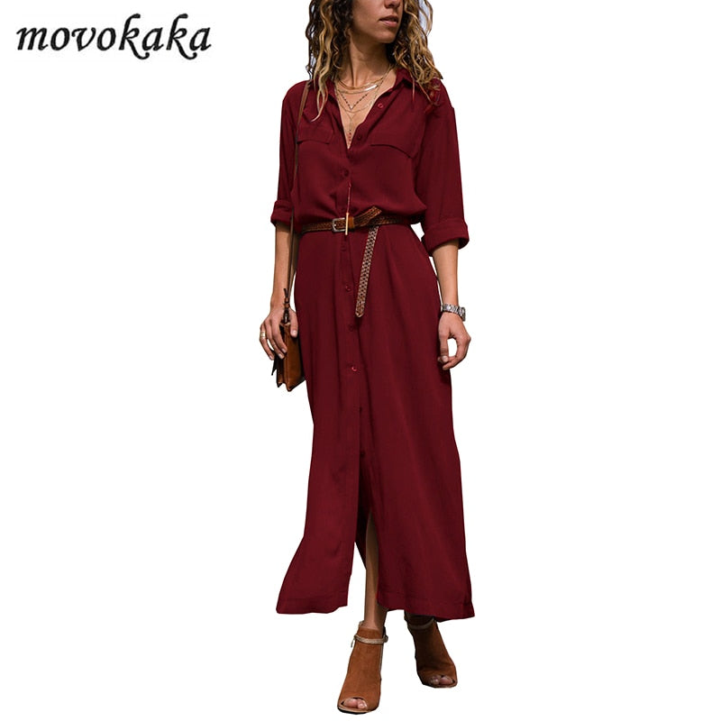 MOVOKAKA Fashion Long Sleeve Dress Women Elegant Spring Summer Dress Plus Size Casual Dresses Woman Party Slim Dress Women Long