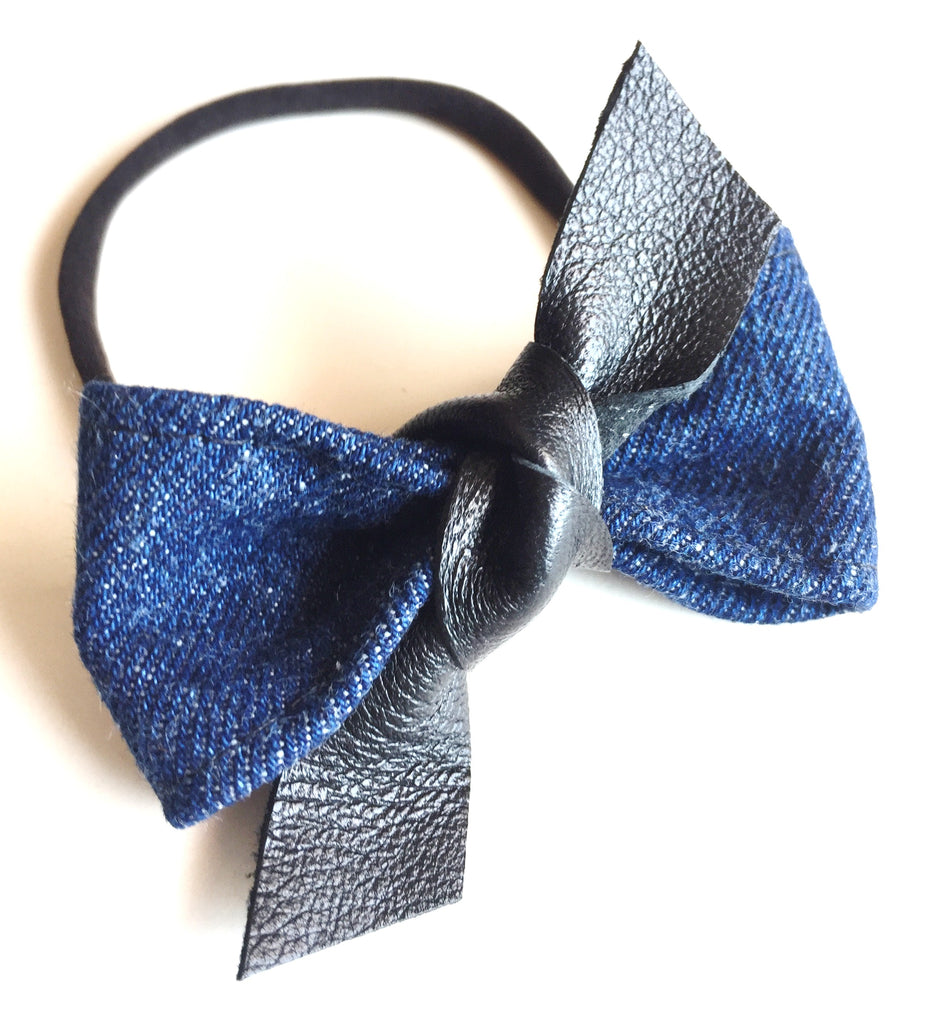 Denim & Leather Knot Bow