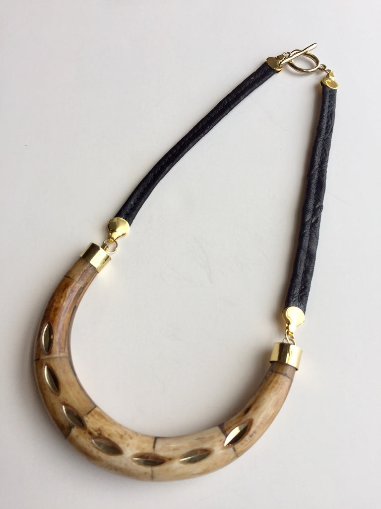 Leather and Bone Crescent Necklace
