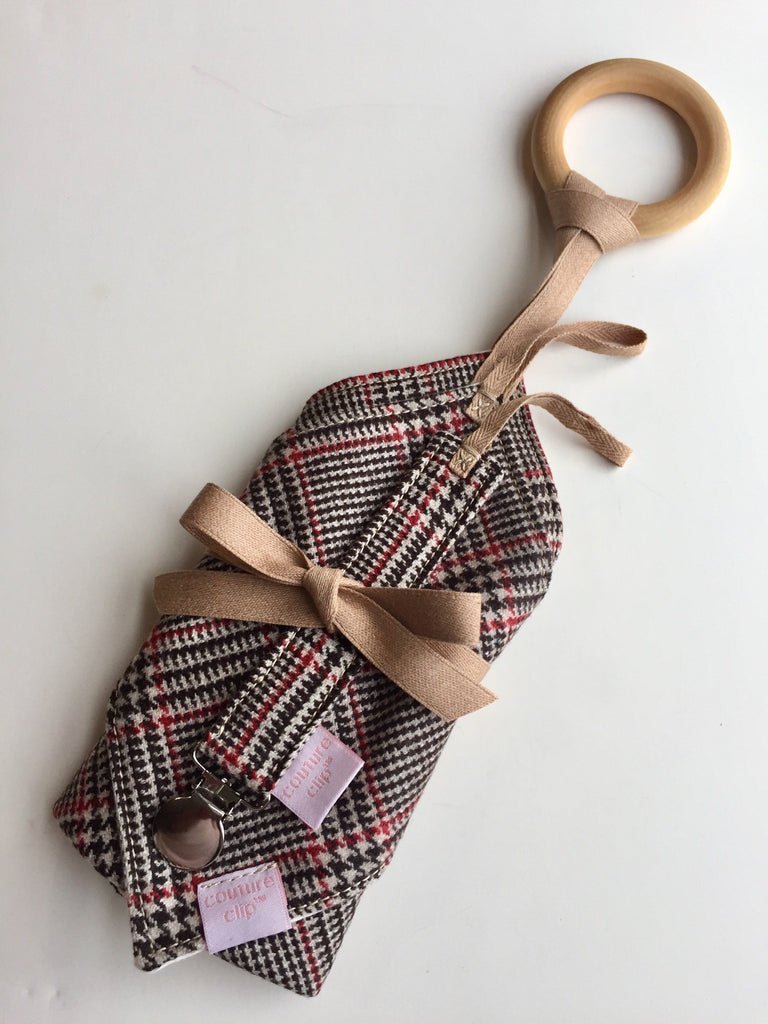 Cashmere Plaid  Binkie Holder, Binkie Lovey & Teether Blanket Gift Set