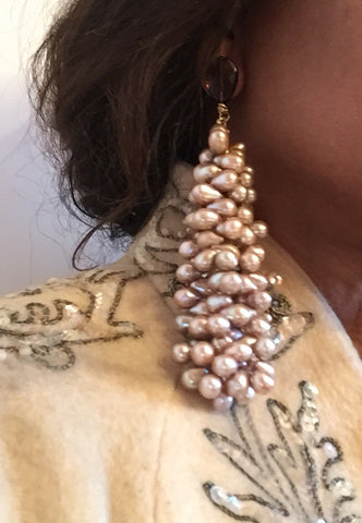 Champagne Freshwater Pearl and Smokey Quartz Duster Earring