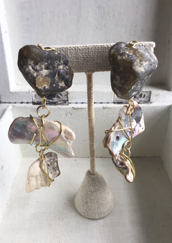 Labradorite + Abalone Shell Wire Wrapped Earring