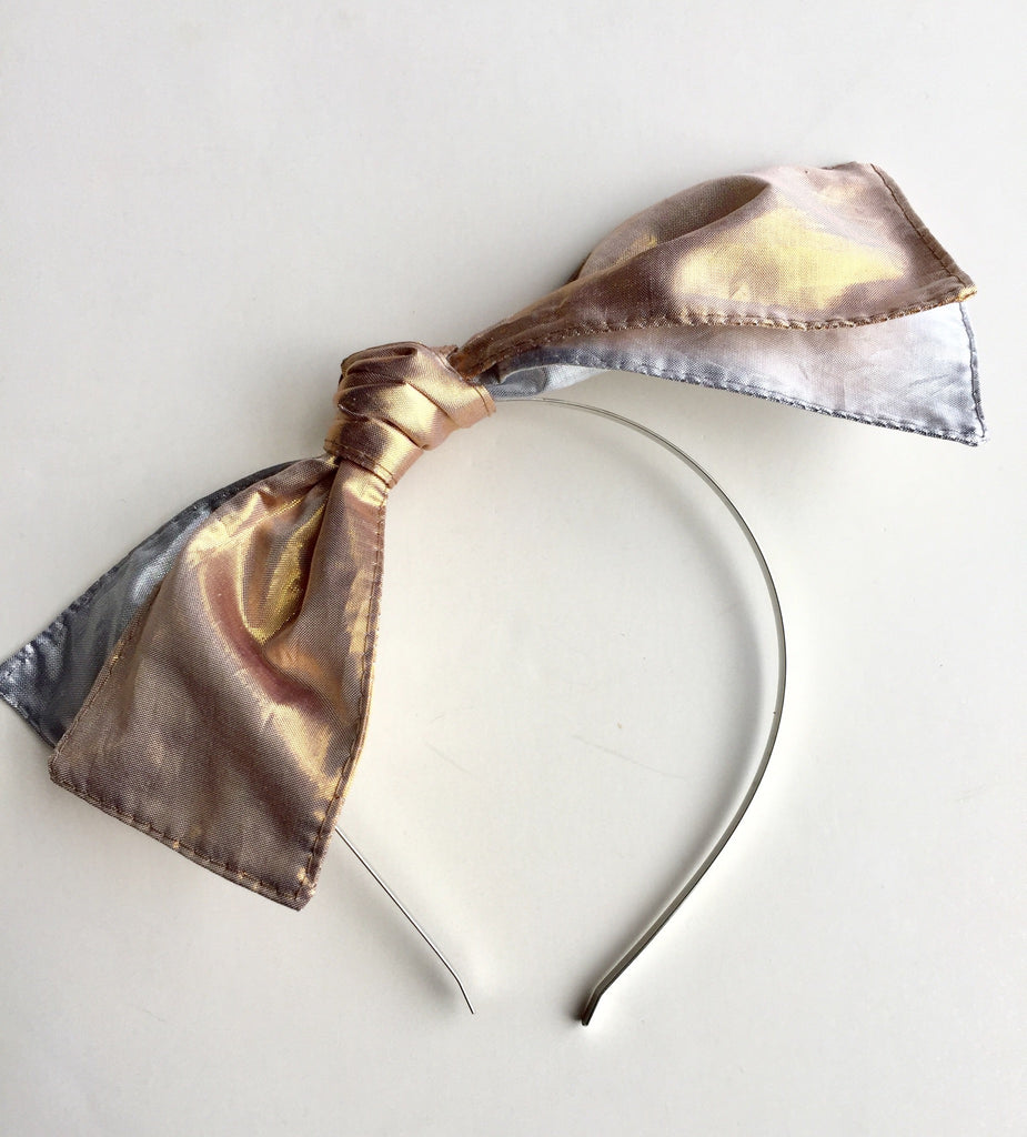 Silk Metallic Double Knot Metal Headband