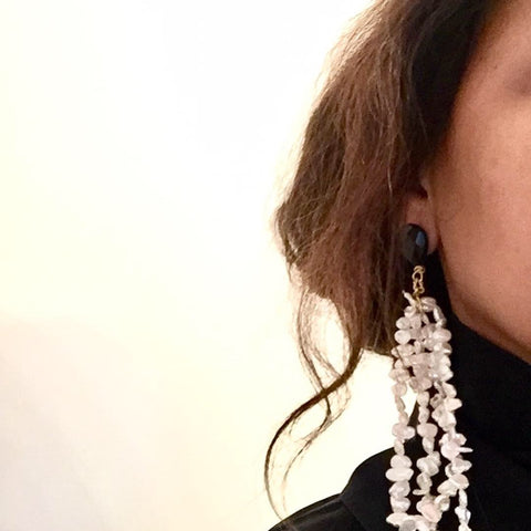 Antique White + Black Onyx Duster Pearl Earring