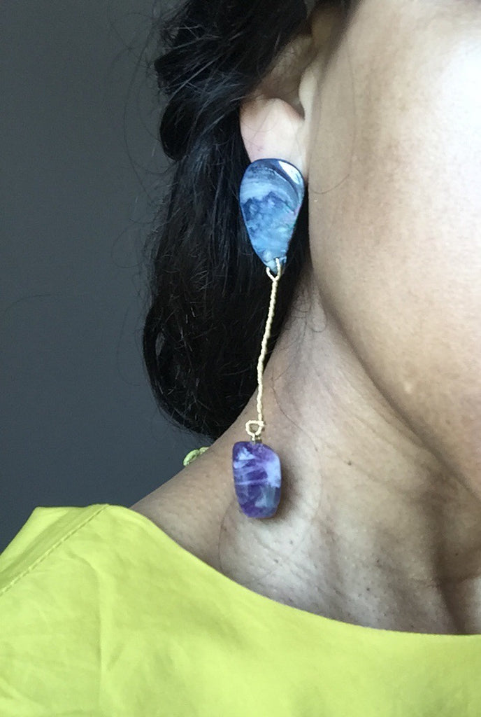 Shell + Amethyst Wire Wrapped Earrings