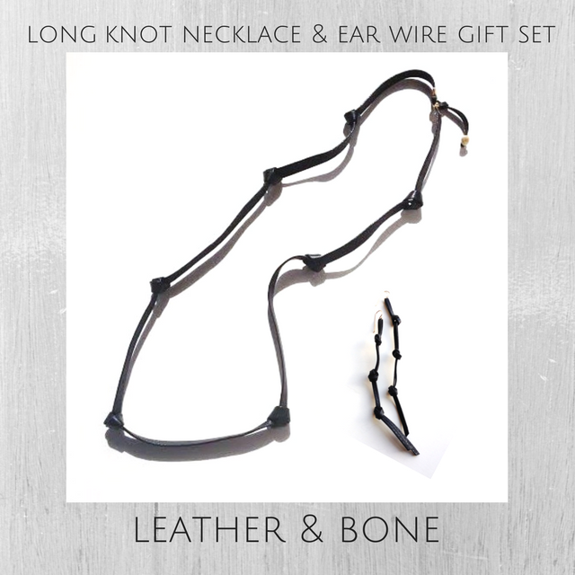 black leather knot necklace and earring gift set for her
