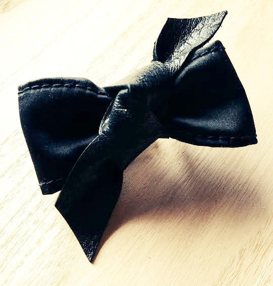 Black Satin & Leather Knot Luxe Bow