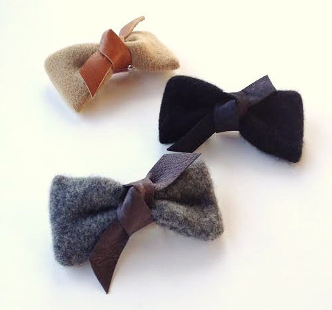 Cashmere Leather Knot Bow