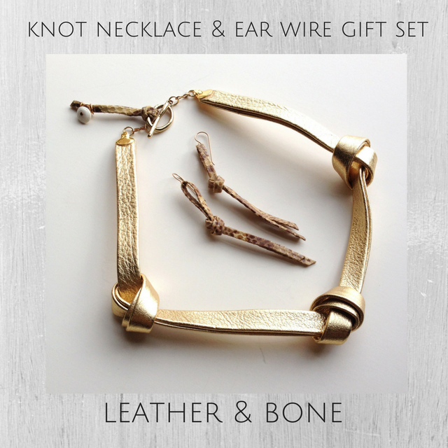 Gold metallic leather knot necklace and earring gift set for her