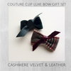 Holiday Plaid Cashmere & Cotton Velvet Leather Knot Bow Gift Set