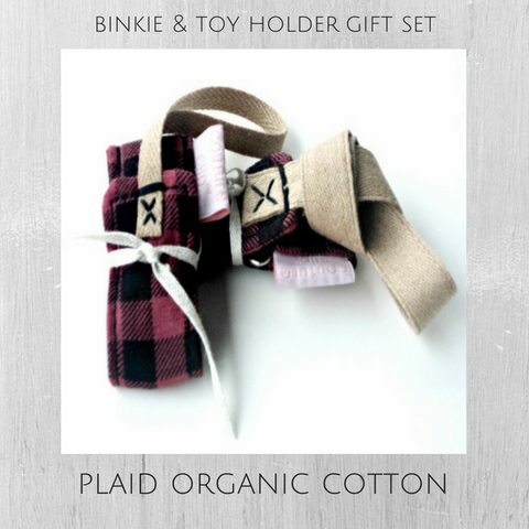 Holiday Plaid Organic Cotton Luxe Binkie & Toy Holder Gift Set