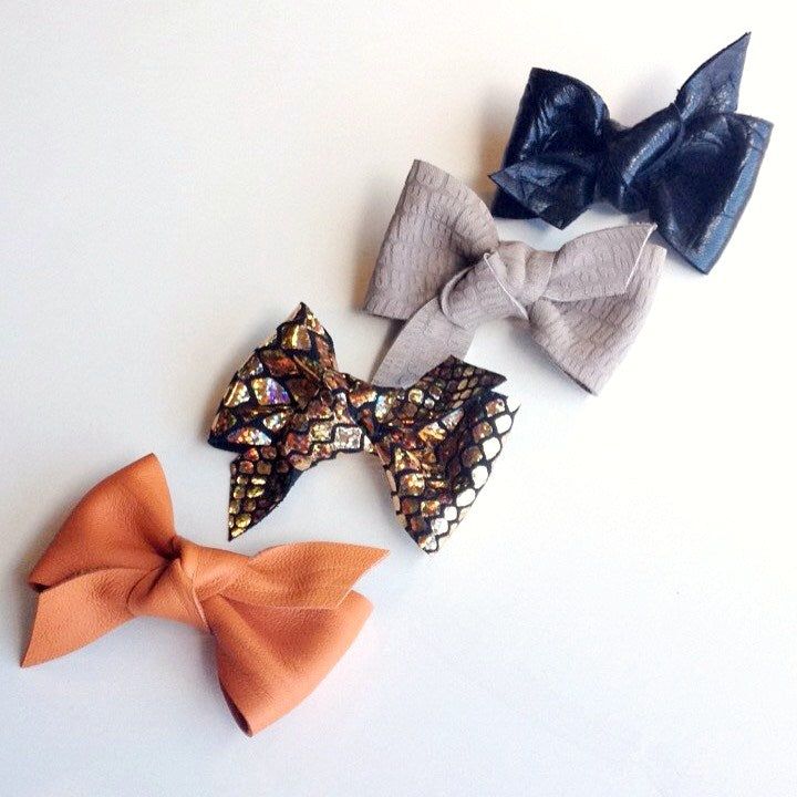 Leather Knot Hair Bow