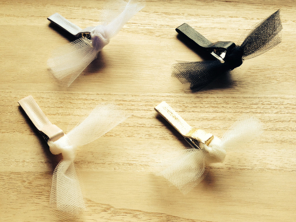 Leather & Tulle Knot Hair Clip